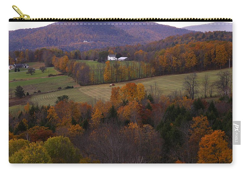 Vermont Carry-all Pouch featuring the photograph Patch Worked Mountains In Vermont by Nancy Griswold