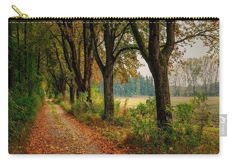 Catholic Carry-all Pouch featuring the digital art Path Along The Horses Meadow On The Farm Lovedayvale L B by Gert J Rheeders