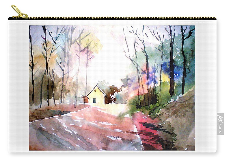 Nature Carry-all Pouch featuring the painting Path In Colors by Anil Nene