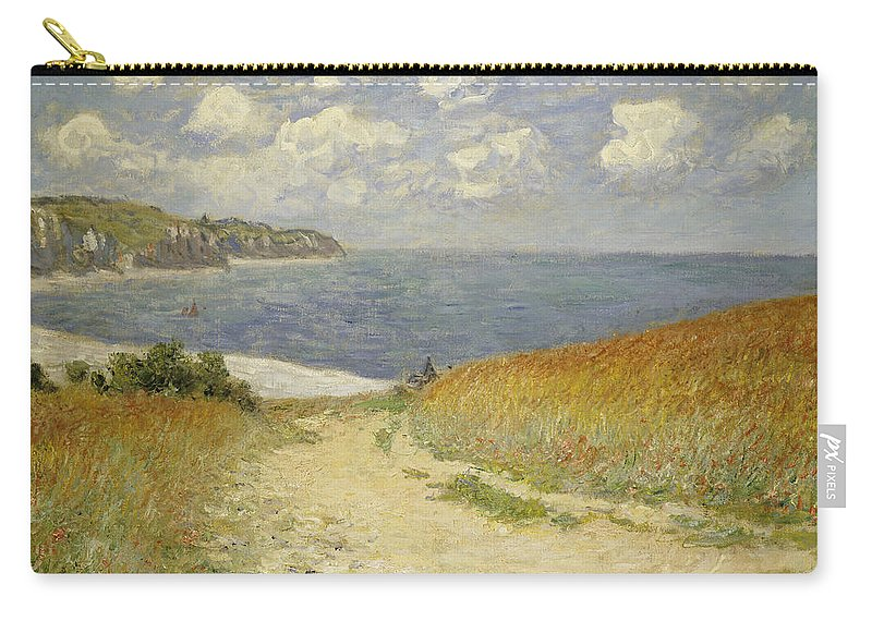 Path In The Wheat At Pourville Carry-all Pouch featuring the painting Path in the Wheat at Pourville by Claude Monet