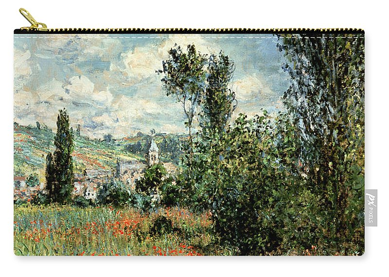 Path Carry-all Pouch featuring the painting Path through the Poppies by Claude Monet