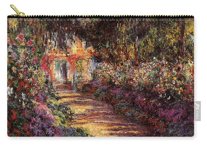 French Carry-all Pouch featuring the painting Pathway In Monet's Garden by Claude Monet