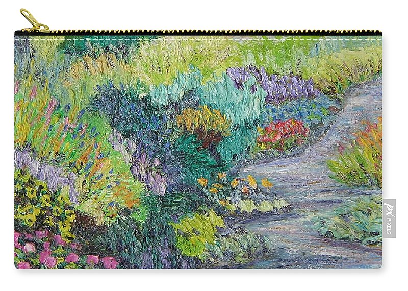 Flowers Carry-all Pouch featuring the painting Pathway of Flowers by Richard Nowak