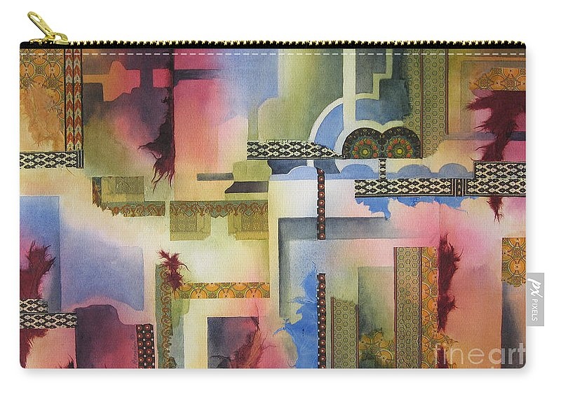 Abstract Carry-all Pouch featuring the painting Pathways by Deborah Ronglien