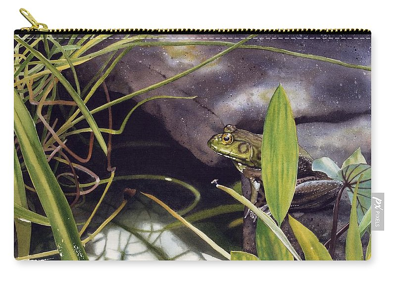 Frog Carry-all Pouch featuring the painting Patience by Denny Bond