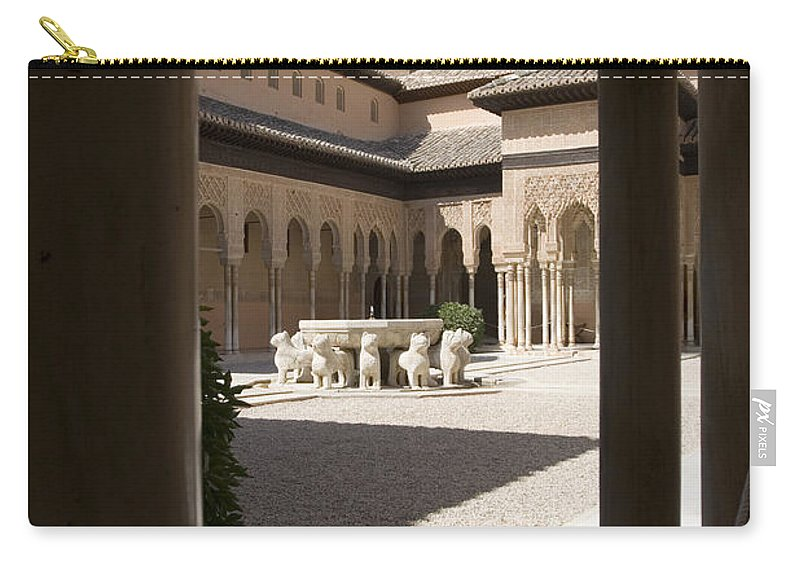 Patio Carry-all Pouch featuring the photograph Patio De Los Leones Nasrid Palaces Alhambra Granada by Mal Bray