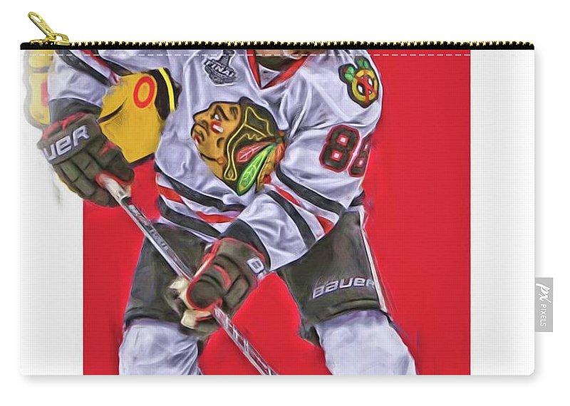 Patrick Kane Carry-all Pouch featuring the mixed media Patrick Kane Chicago Blackhawks Oil Art Series 2 by Joe Hamilton