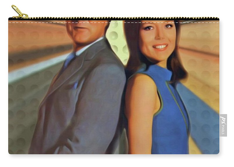 Patrick Carry-all Pouch featuring the digital art Patrick Macnee And Diana Rigg, The Avengers by Mary Bassett