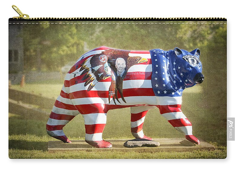 Patriot Bear Carry-all Pouch featuring the photograph Patriot Bear by Cynthia Woods