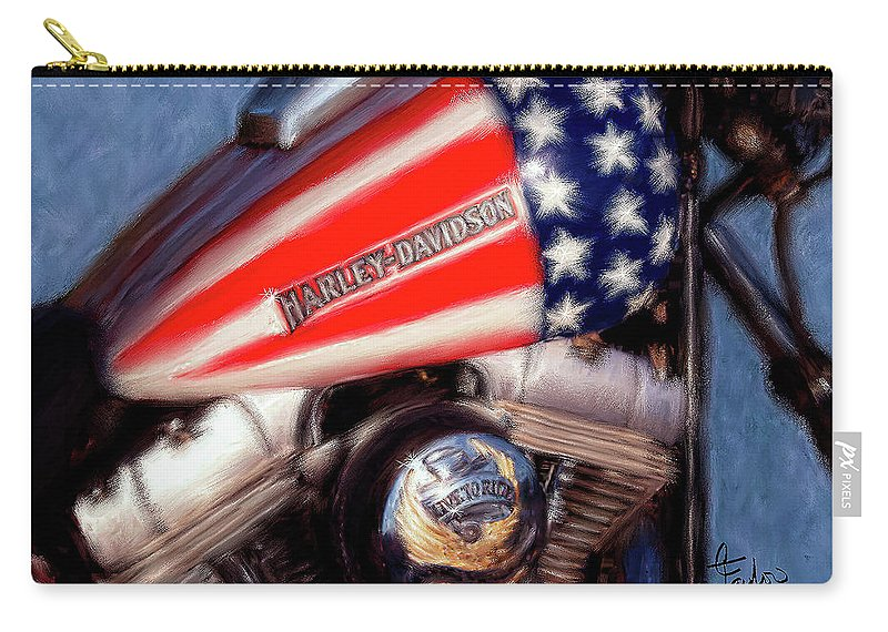 Motorcycles Carry-all Pouch featuring the painting Live To Ride by Colleen Taylor