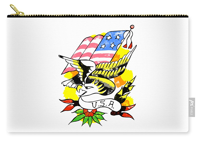 Eagle Carry-all Pouch featuring the digital art Patriotic Eagle Tattoo by Bob Newman