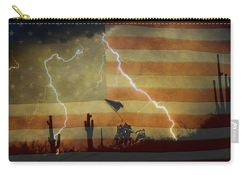 Lightning Carry-all Pouch featuring the photograph Patriotic Operation Desert Storm by James BO Insogna