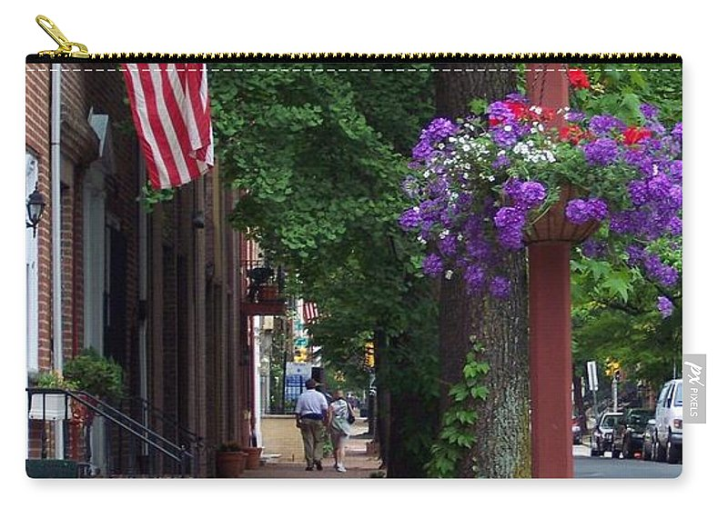 Cityscape Carry-all Pouch featuring the photograph Patriotic Street In Philadelphia by Debbi Granruth