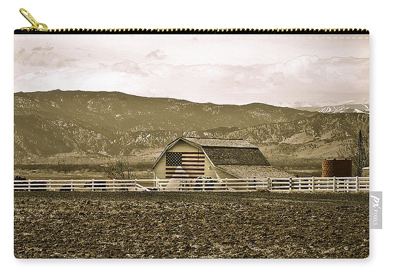 Americana Carry-all Pouch featuring the photograph Patriotism And Barn by Marilyn Hunt