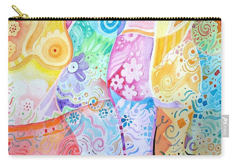Woman Carry-all Pouch featuring the painting Pattern And Form I by Helena Tiainen