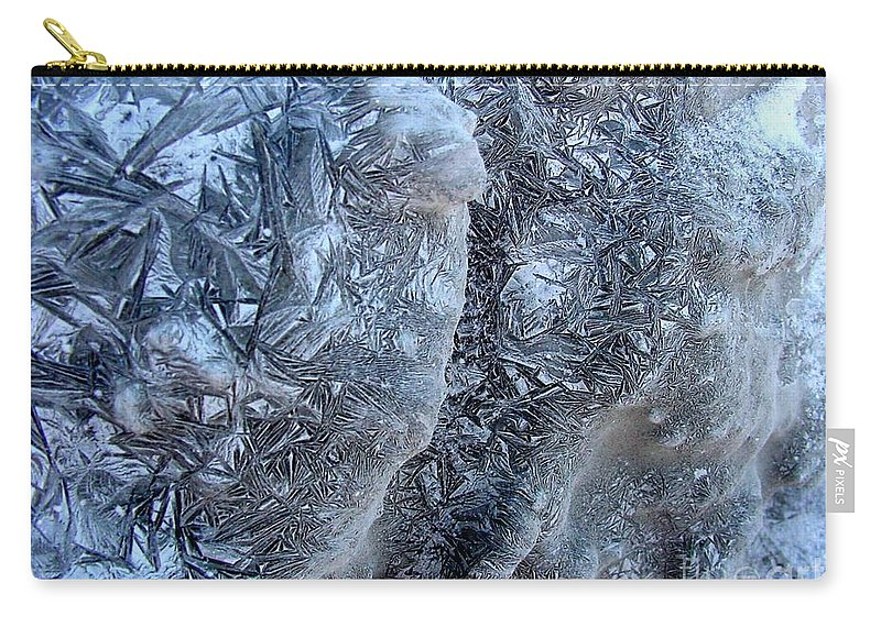 Icescape Carry-all Pouch featuring the photograph Patterned Ice by Ron Bissett