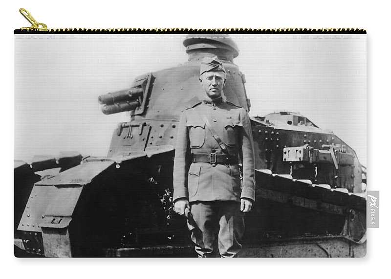 George Patton Carry-all Pouch featuring the photograph Patton Beside a Renault Tank - WWI by War Is Hell Store