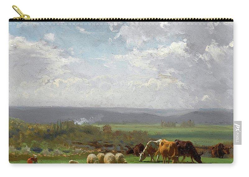 Auguste Bonheur Carry-all Pouch featuring the painting Paturage En Auvergne by Auguste Bonheur