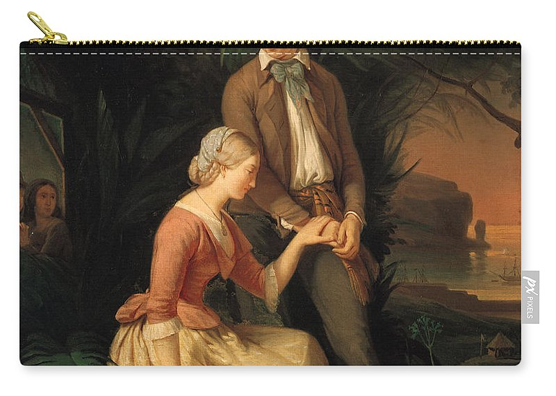 Paul Carry-all Pouch featuring the painting Paul And Virginie by French School