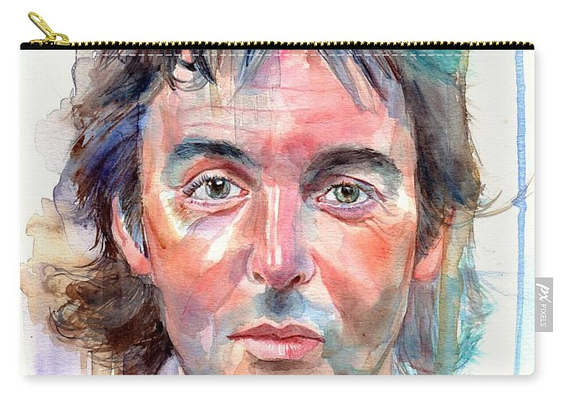 Paul Carry-all Pouch featuring the painting Paul McCartney young portrait by Suzann Sines