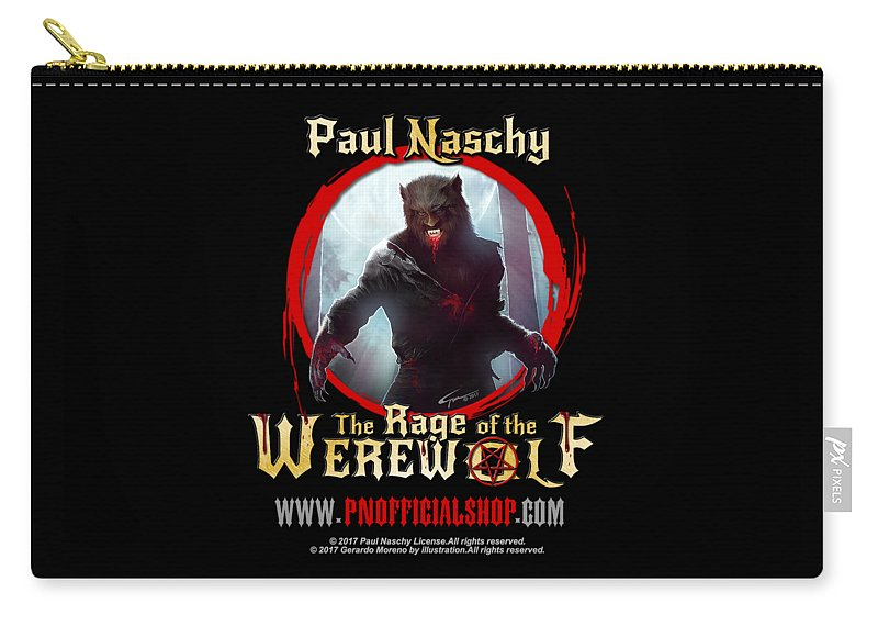 Paul Naschy Carry-all Pouch featuring the digital art Paul Naschy - The Legacy - Logo 2 by Paul Naschy