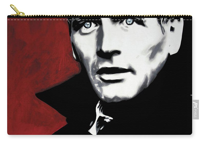 Paul Newman Carry-all Pouch featuring the painting Paul Newman by Luis Ludzska