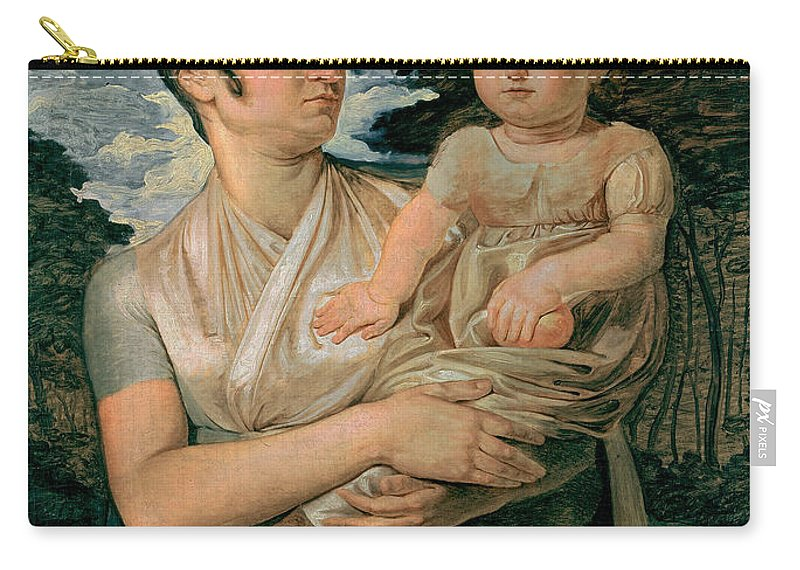 Philipp Otto Runge Carry-all Pouch featuring the painting Pauline Runge With Her Two Year Old Son by Philipp Otto Runge