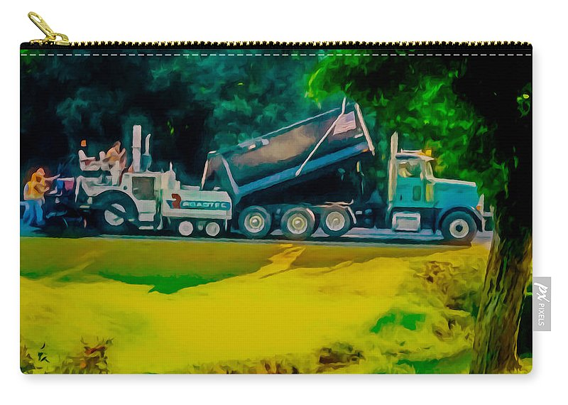 Paving Crew Carry-all Pouch featuring the painting Paving Crew 2 by Jeelan Clark