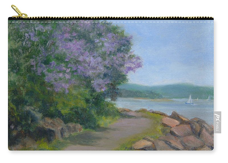 Oil Landscape Carry-all Pouch featuring the painting Paulownia Along The Nyack Trail by Phyllis Tarlow