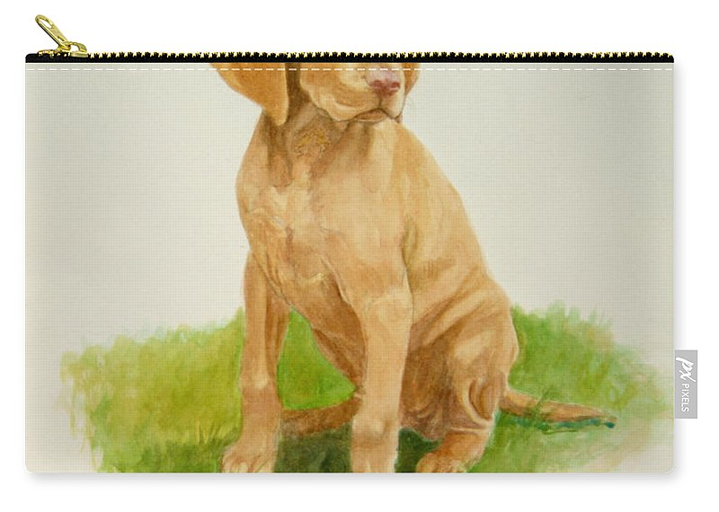 Dog Carry-all Pouch featuring the painting Paws To Grow Into by Phyllis Tarlow