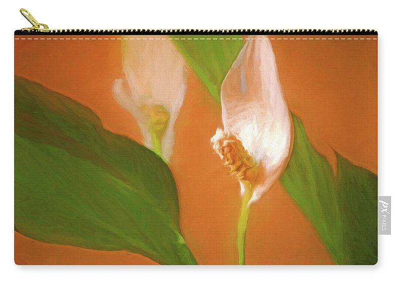 Digital Carry-all Pouch featuring the mixed media Peace Lily Grace 10 by Lynda Lehmann