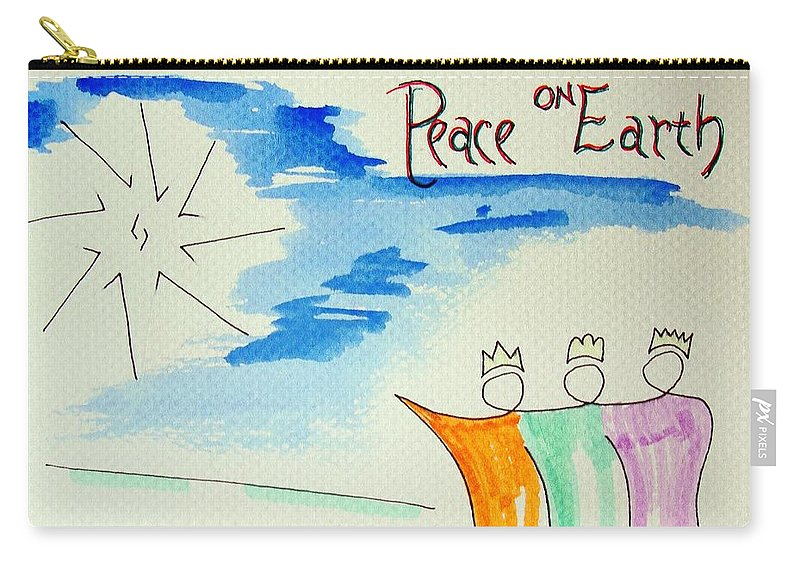 Peace On Earth Carry-all Pouch featuring the drawing Peace On Earth by J R Seymour