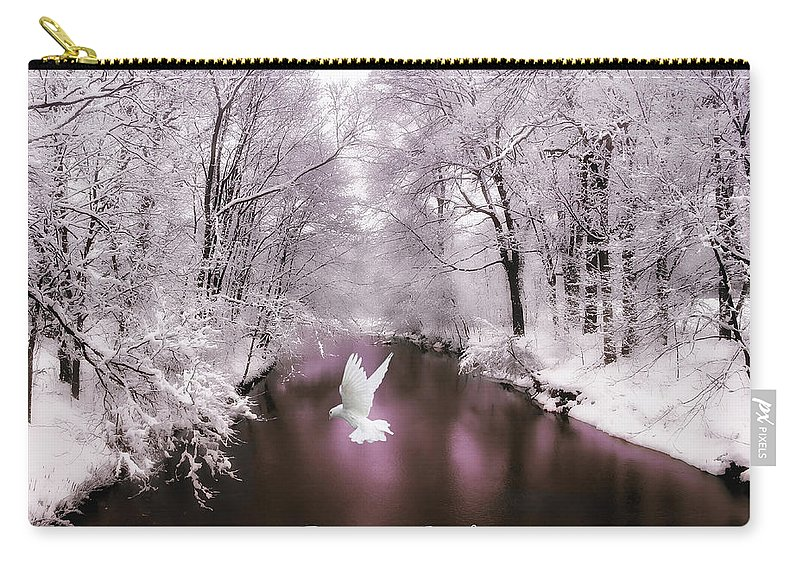 Nature Carry-all Pouch featuring the photograph Peace On Earth With Text by Jessica Jenney
