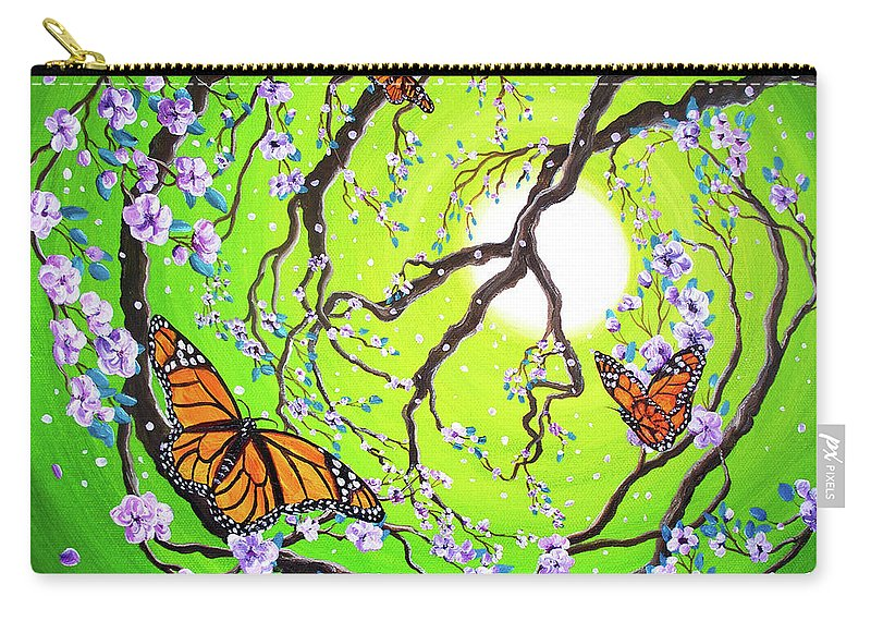 Zen Carry-all Pouch featuring the painting Peace Tree With Monarch Butterflies by Laura Iverson