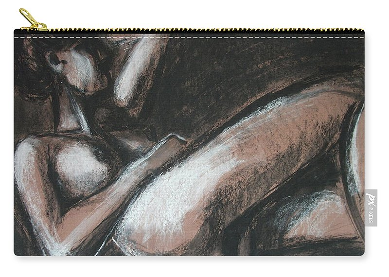 Original Carry-all Pouch featuring the drawing Peaceful by Carmen Tyrrell