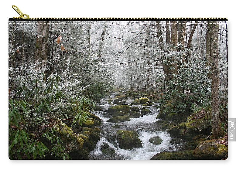 Forest Wood Woods Nature Green White Snow Winter Season Creek River Stream Flow Rock Tree Rush Carry-all Pouch featuring the photograph Peaceful Flow by Andrei Shliakhau