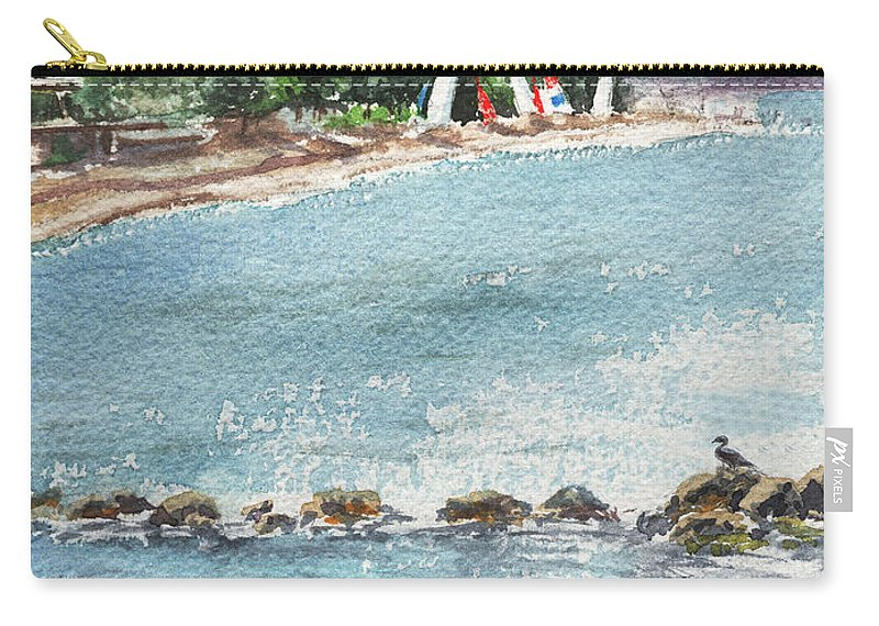 Harbor Carry-all Pouch featuring the painting Peaceful Morning At The Harbor by Irina Sztukowski