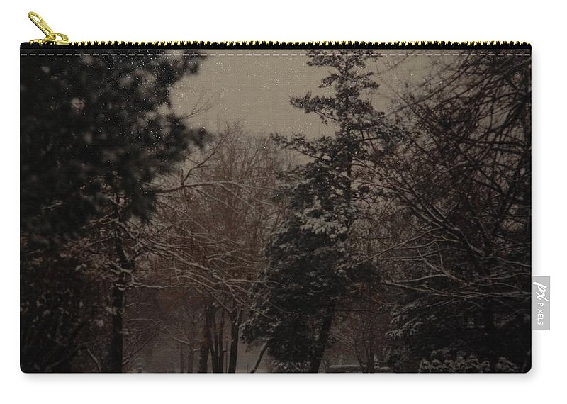 Lights Carry-all Pouch featuring the photograph Peaceful Snow Dusk by Rob Hans