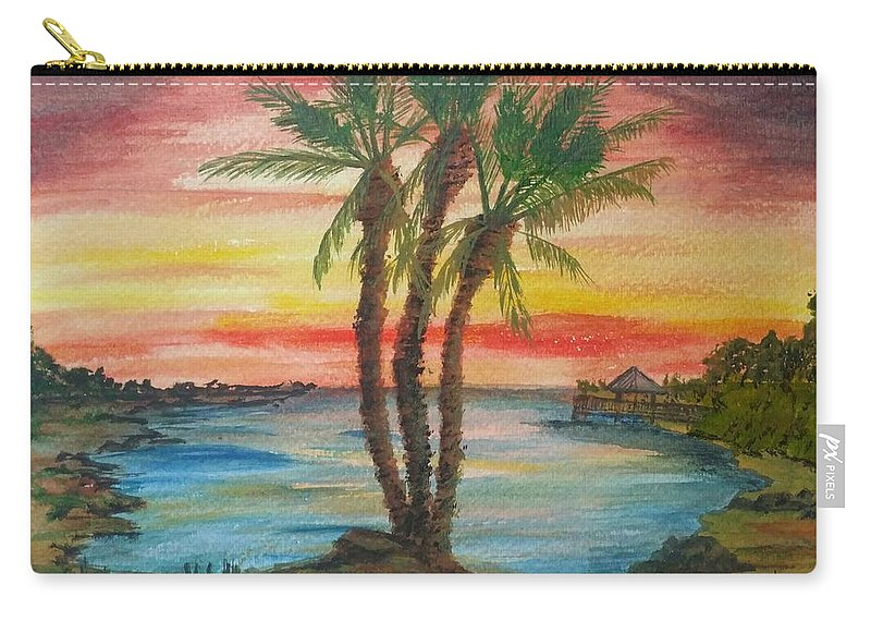 Peaceful Sunset Carry-all Pouch featuring the painting Peaceful Sunset by Carlene Harris