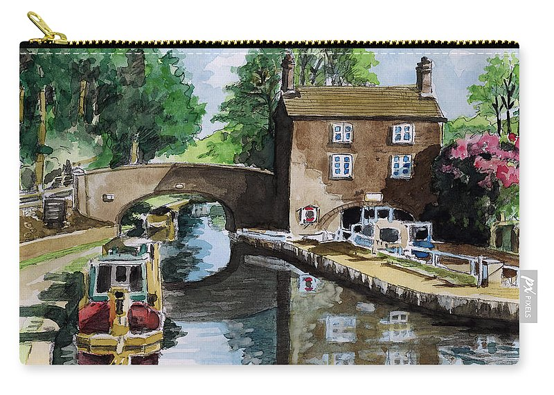 House Carry-all Pouch featuring the painting Peacfull House On The Lake by Alban Dizdari