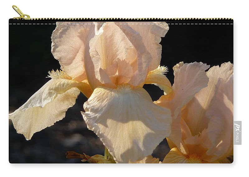 Flower. Iris Carry-all Pouch featuring the photograph Peach Bearded Iris by Ruth Kamenev