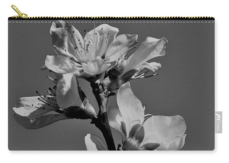 Peach Carry-all Pouch featuring the photograph Peach Blossoms In Grayscale by Betty Northcutt