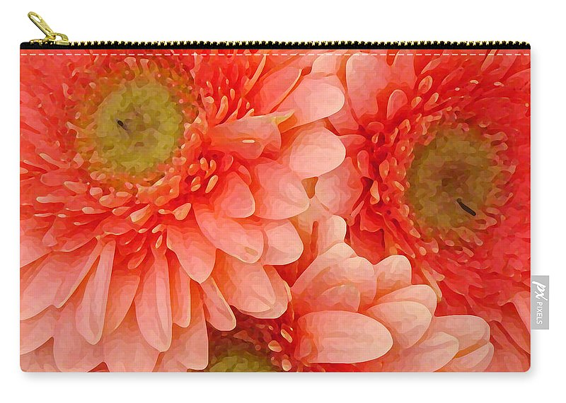 Floral Carry-all Pouch featuring the painting Peach Gerbers by Amy Vangsgard