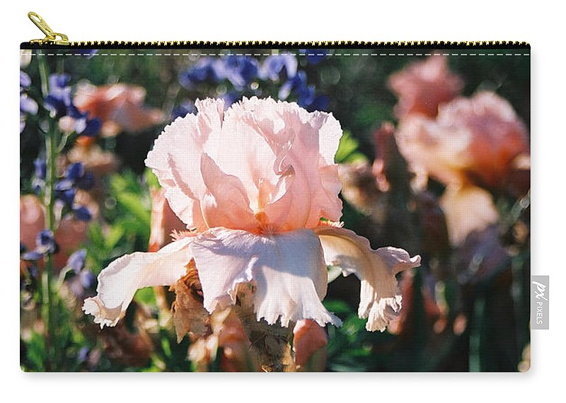 Flower Carry-all Pouch featuring the photograph Peach iris by Steve Karol