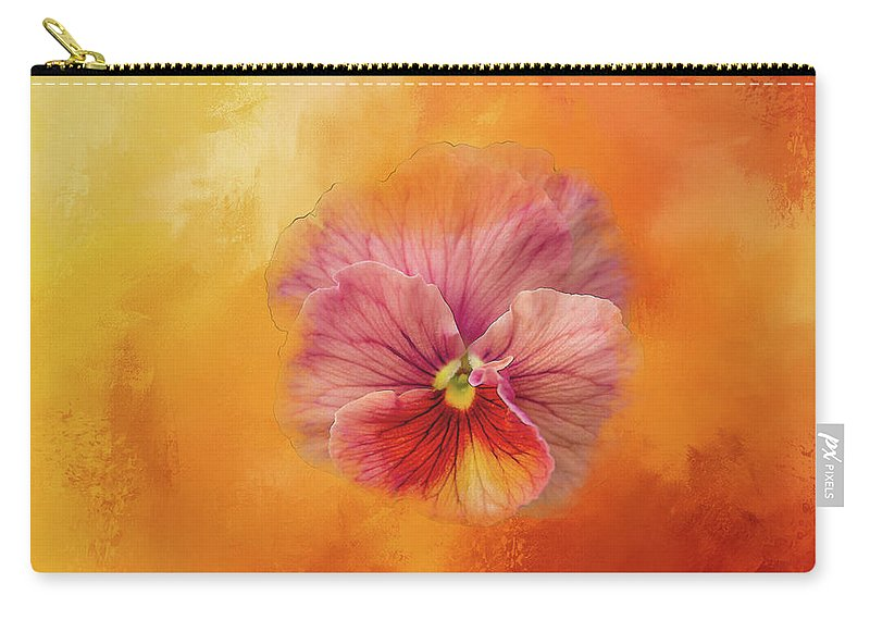Flower Carry-all Pouch featuring the digital art Peach Pansy by Terry Davis