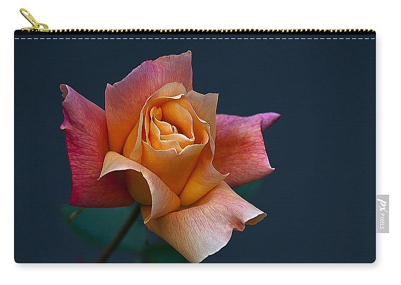 Floral Carry-all Pouch featuring the photograph Peach Rose Bud by Emerald Studio Photography