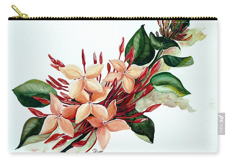 Floral Peach Flower Watercolor Ixora Botanical Bloom Carry-all Pouch featuring the painting Peachy Ixora by Karin Dawn Kelshall- Best