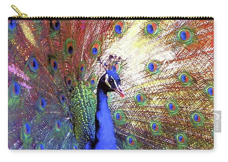 Blue Carry-all Pouch featuring the painting Peacock Beauty Colorful Art by Jane Small