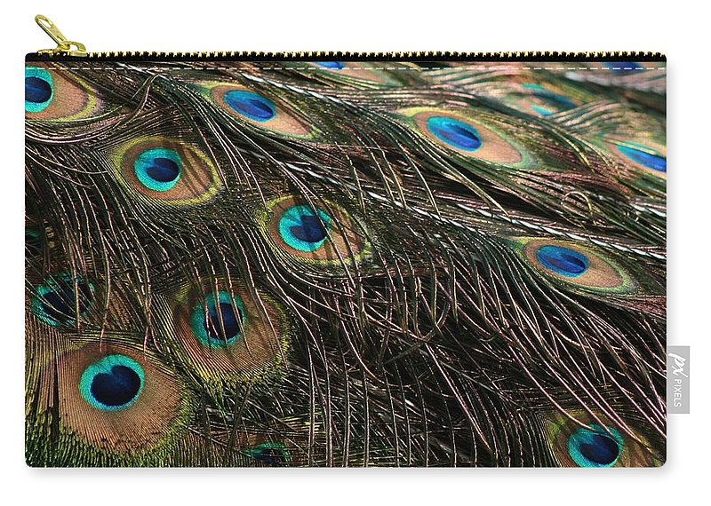 Peacock Carry-all Pouch featuring the photograph Peacock Feathers by Tina Meador