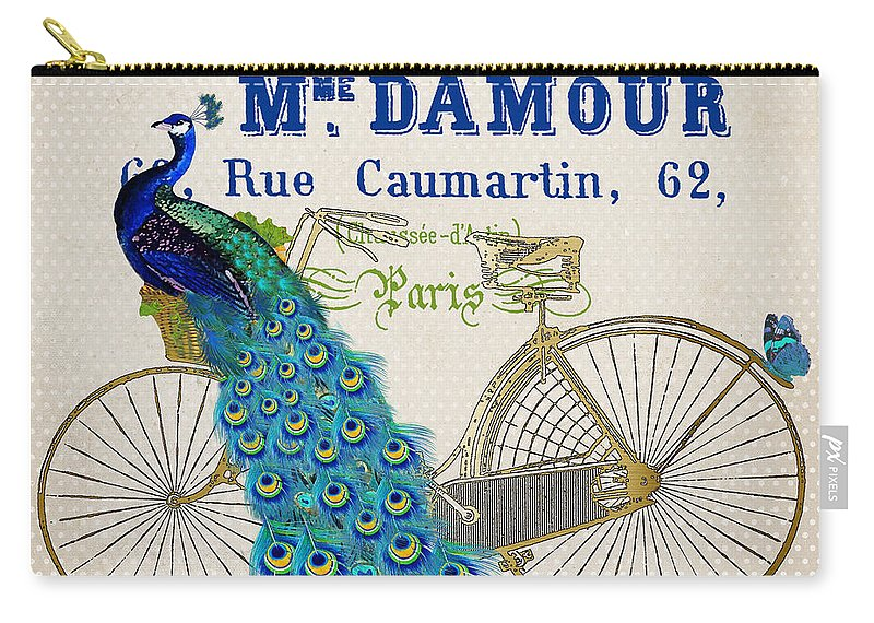 Peacock Carry-all Pouch featuring the painting Peacock On Bicycle-jp3607 by Jean Plout